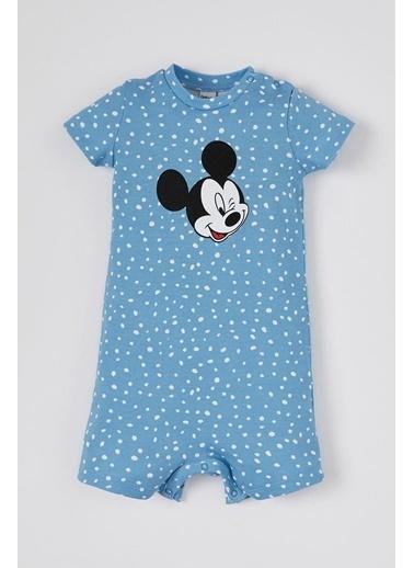DeFacto Erkek Bebek Mickey Mouse Lisanslı Kısa Kol Tulum Mavi